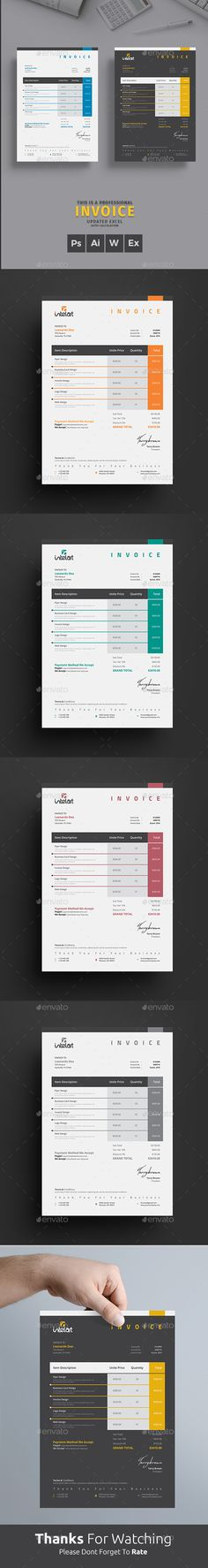 Invoice Pinterest Template, Proposal templates and Report design