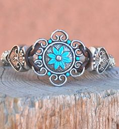 Hand Patinaed Aqua Zinc Concho Cowgirl Bracelet $36