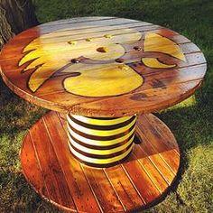 New project for dad!! Iowa Hawkeye Spool Table