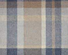 Garrick Wool Tartan Fabric A wool tartan fabric in blues, stone and brown