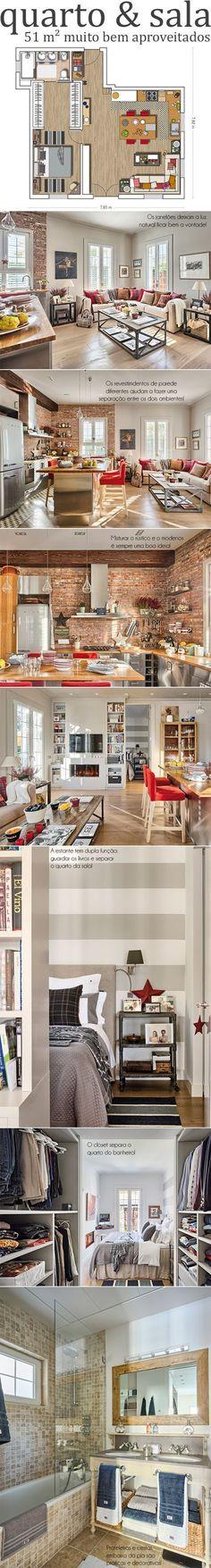 Departamento de una habitación, sala y cocina en 51 m2 #decoracioncocinaspequeñas