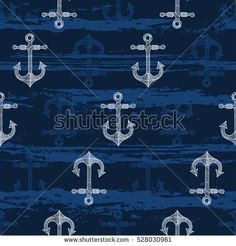 Seamless pattern with hand-drawn anchors. Vector Background, Anchors, Palm Trees, Hand Drawn, How To Draw Hands, Pattern, Shirt, Frosting, Baby Boys