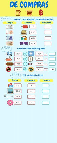 De compras Tengo Compro Me queda Precio Compro Cuesta 1,55 1,55 4,95 16,73 40,04 12,05 43,76 497,99 3,55 7,49 6,55 5,95 0,95 4 2 6 5 8,37 24,69 25,47 63,08 Nivel 1 Nivel 2 Nivel 3 Calcula lo que te... Homeschool, Bullet Journal, Education, Math, Diners, Design, Euro, Teaching Supplies, Shopping
