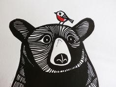 Bear and Robin, Original Linocut Print, Signed Limited Edition of 50,  Free Postage in UK, Hand Pulled, Printmaking, by KatLendacka on Etsy https://www.etsy.com/listing/255047510/bear-and-robin-original-linocut-print