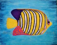Angelfish, Mixed Media Painting, Easy Paintings, Crow, Folk Art, Primitive, Etsy Shop, Watercolor, The Originals