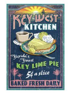 Key West, Florida - Key Lime Pie Vintage Sign - Lantern Press Poster - They make the best! Vintage Advertisements, Vintage Ads, Vintage Signs, Vintage Style, Vintage Images, Vintage Prints, Key West Florida, Florida Keys, Florida Trips