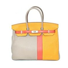 cf72c5475a6 Authentic Vintage Hermes 35cm Birkin Bag in Dual Tone Yellow Togo Leather  with Palladium Hardware -