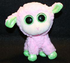 "TY Beanie Babies BOOS BABS Pink Easter Lamb 6"" Pink Green Glitter eyes Plush"