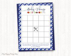 Blue Baby Q Bingo Card, Boy BBQ Baby Shower, Barbeque Shower, Checkered Bingo Card,  Printable, Digital File, Instant Download - BSU020B by MyHappyPartyShop on Etsy https://www.etsy.com/listing/499350356/blue-baby-q-bingo-card-boy-bbq-baby