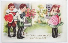 Whitney Postcard GIRL Can't CHOOSE a Valentine EMB