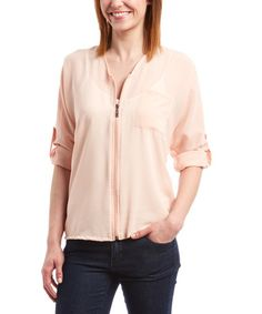 Look what I found on #zulily! Peach Sheer Zip-Front Top - Women #zulilyfinds