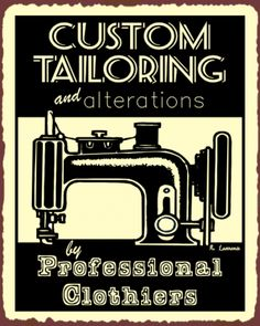 Custom-Tailor-Vintage-Metal-Art-Sewing-Clothing-Retro-Tin-Sign