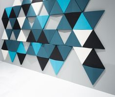 Bits wall by Abstracta sound absorbing wall panels Acoustic Wall Panels, 3d Wall Panels, Geometric Wall, Geometric Shapes, Sound Absorbing, Wall Cladding, Sound Proofing, Paint Designs, Wood Wall Art