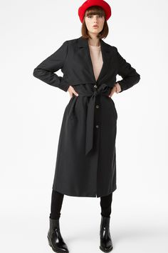 Twill trench coat - Black magic - Coats & Jackets - Monki FR