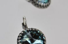 Denim blue vintage Style Earrings, silver plated, for your casual jeans and t-shirt kinda look.
