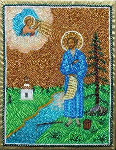 Икона Симеона Верхотурского вышитая бисером