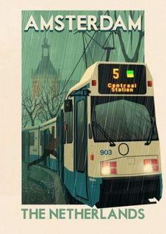 Vintage Illustratie-Affiche-Reclame ~Amsterdam