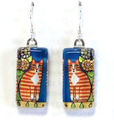 Orange Tabby Cat Earrings... Ginger Tuxedo Jewelry by SusanFayePetProjects, $18.00