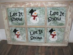 This is a guide about making a let it snow window frame. Old windows can be reused to make unique crafts for your home. Paint on a winter motif and you have an original holiday decoration. This is a guide about making a Window Frame Crafts, Old Window Projects, Craft Projects, Window Ideas, Window Frames, Craft Ideas, Old Window Art, Window Pane Art, Snowman Crafts