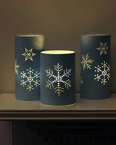 punched holiday lanterns, light up like tin can lanterns but made from paper.Tin Can Candles - Decorating with lights – 20 DIY String Light Projectssnowflakes patterns for can Beautiful Christmas Home Decoration Ideas From Martha Stewart Navidad Simple, Navidad Diy, Tin Can Crafts, Diy And Crafts, Decor Crafts, Decor Diy, Modern Christmas Decor, Christmas Decorations, Christmas Lanterns
