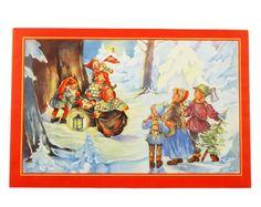 Julbonad SKOGSMÖTE Gnomes, Troll, Christmas Cards, Barn, Miniatures, Painting, Beautiful, Sweden, Printables