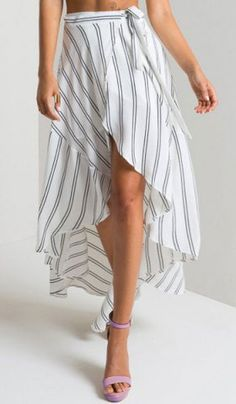 black & white pinstripe wrap skirt with a sexy high-low hem. love it paired with a pastel purple heel