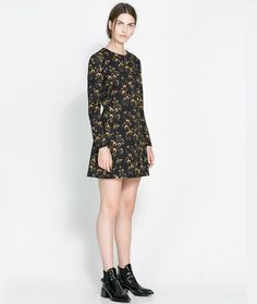 NEW ARRIVAL SPRING AND AUTUMN FASHION EUROPEAN AND AMERICAN STYLE WOMEN RETRO PRINT ROUND NECK LONG-SLEEVED CASUAL DRESS 372