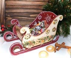 Купить Новогодние сани декупаж - бордовый, сани новогодние, сани, санки, санки деревянные