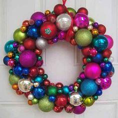 Photo: sunnydayz5 via Etsy.com | Make a wreath out of Christmas tree glass-ball ornaments!