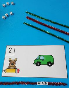 Little Learners Thread Beads onto Chenille Stems for Engaging CVC Practice!  Great for Morning Tubs or Early Finishers!  $ #Christmas  #phonics #CVC #CVCWords #kampkindergarten #LiteracyCenters #WordWork #morningtubs #earlyfinishers  https://www.teacherspayteachers.com/Product/Christmas-Spell-the-Room-CVC-Words-2198095