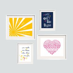 You Are My Sunshine Print Set in  Yellow, Navy and Hot Pink 8x10 and 5x7- Eclectic style Gallery wall Art - YassisPlace on Etsy, $69.80