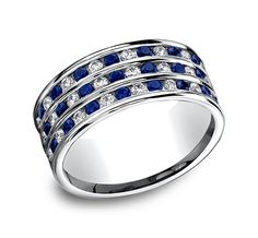 This beautiful 8mm comfort-fit diamond band features a gorgeous blue sapphire and diamond inlay that compliment one another in this white gold setting.