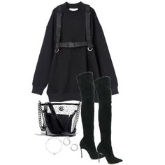Fashion set Seesaw created via Fall outfit. black outfit Source by outfits stage Cute Swag Outfits, Stylish Outfits, Fall Outfits, Kpop Fashion Outfits, Stage Outfits, Look Fashion, Korean Fashion, Mode Emo, Looks Hip Hop