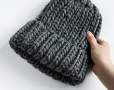 Chunky beanie, minimalist chic woollen hat, urban style chunky hat (ready to ship) in dark grey