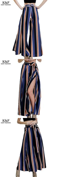 Fashion Autumn Wide Leg Pants for Women 2017 High Waist Lace Up Striped Trousers Ladies Casual Side Split Full Loose Pants