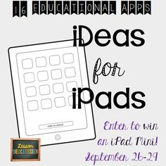 Here's a chance to win an iPad mini!  Also, follow the bloghop links to pick up a wealth of great ideas for using iPads!  Have fun!