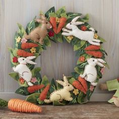 Felt Stitched Bunny Wreath