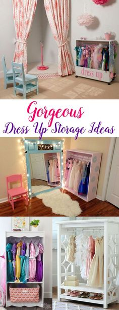 Fun dress up storage ideas for girls to organize dress up outfits, princess dres. Fun dress up storage ideas for girls to organize dress up outfits, princess dresses and accessories - Mommy Scene Dress Up Storage, Toy Rooms, Little Girl Rooms, My New Room, Baby Room, Storage Ideas, Easy Storage, Storage Solutions, Princess Dresses