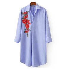 Blouse à rayure avec broderie floral bleu (455 MXN) ❤ liked on Polyvore featuring tops, blouses, floral blouses, embroidery top, embroidery blouses, rayure and flower print blouse