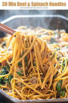 These 30 Minute Beef and Spinach Noodles are incredibly easy to make, packed with a ton of spinach, and a family favorite! #groundbeef #noodles #easy #recipe #beefandspinachnoodles #beefnoodles Best Dinner Recipes, Brunch Recipes, Meat Recipes, Summer Recipes, Asian Recipes, Vegetarian Recipes, Spinach Noodles, Beef And Noodles, Healthy Weeknight Meals