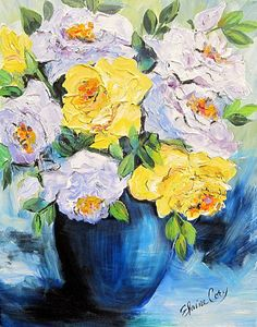 Still life Painting Original painting Blue and Yellow Floral painting Wall Art 16 x 20 Original Art by  Elaine Cory