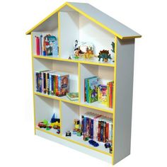 The Venture Horizon Dollhouse Bookcase features a unique design that doubles as a six-room playhouse. Use this piece in a child's room or play area to store books toys media and more. The shelves are 15 inches apart to accommodate even larger children's books. Since this bookcase can also be used as a doll house it's a terrific way to encourage imaginative play as well as organization.Constructed from durable stain-resistant laminated wood compos