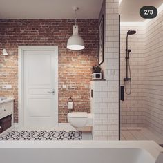 Dear brick, but I think I am more in favor of project number in this project. Brick Bathroom, Loft Bathroom, Bathroom Goals, Bathroom Inspo, Bathroom Inspiration, Small Bathroom, Master Bathroom, Industrial Interior Design, Bathroom Interior Design