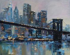 Buy Brooklyn Bridge - New York City - Evening urban landscape painting, Oil painting by Anastasiya Valiulina on Artfinder. Discover thousands of other original paintings, prints, sculptures and photography from independent artists.