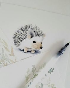 Best Indoor Garden Ideas for 2020 - Modern Hedgehog Tattoo, Hedgehog Drawing, Hedgehog Art, Cute Drawings, Animal Drawings, Watercolor Illustration, Watercolor Paintings, Hedgehog Illustration, Watercolor Animals
