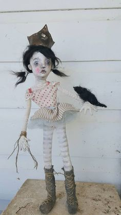 OOAK textile cloth fabric art doll k d milstein faded by fadedwest