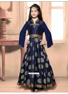 Festive Blue Jacquard Dress Model: YOG324