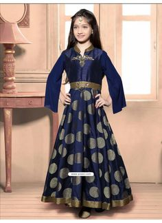 Festive Blue Jacquard Dress Model: YOG324