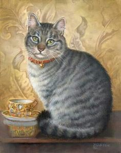Realistic and beautiful cat painting with golden tea cup.