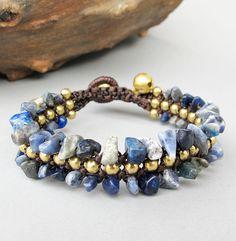 Summer 2014 Macrame Lapis Lazuli Chip Stone Bracelet with Bronze Bead